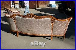 Victorian Renaissance 19th Century Antique Carved Sofa Settee & Chair Set LOT