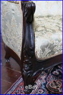 Victorian Rosewood Rococo Hand Carved Sofa Belter Style
