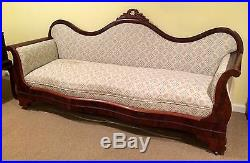 Victorian SOFA Mahogany Serpentine Back HAND Carved Crest Rolled Arms Antique