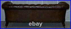 Victorian Serpentine Hand Dyed Restored Whisky Brown Leather Chesterfield Sofa