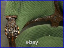 Victorian Sofa with Carved Wood Frame & Green Upholstery