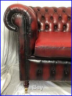 Victorian Style Large Tall Leather Chesterfield Sofa 4 Seater Settee Oxblood Red