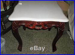 Victorian Style Sofa and Chair plus 2 Marble top Tables