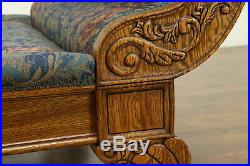 Victorian Style Vintage Oak Chaise Lounge Day Bed Fainting Couch, Pulaski #32275