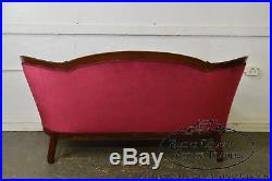 Victorian Walnut Antique Red Tufted Sofa