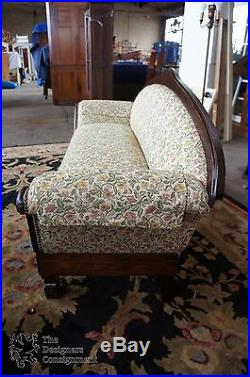 Victorian Walnut Camelback Floral Sofa Nail Head Empire Antique Settee 19th Cent