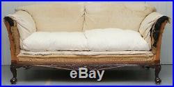 Victorian Walnut Claw & Ball Framed Howard & Sons Sofa Professional Stripped