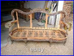 Victorian sofa couch apx 6.5 ft antique frame ready for padding upholstery as is