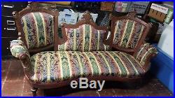 Vintage 1800's Victorian Walnut Sofa