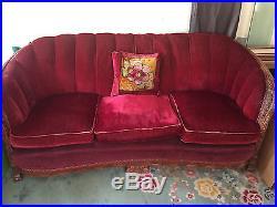 Vintage 1930's Art Deco Burgundy Mohair Sofa & Chair Set with Wood Trim