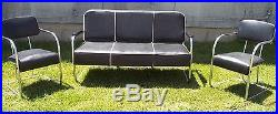 Vintage 1930s Mid century modern Lloyd Chrome Sofa + Chair Set Black Mint MCM
