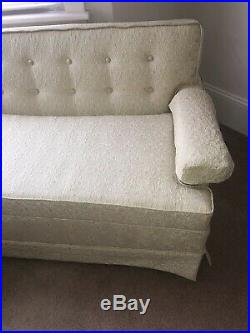 Vintage 1950s 3 Piece Upholstered Sofa Coach sectional Blue Mid Century Modern