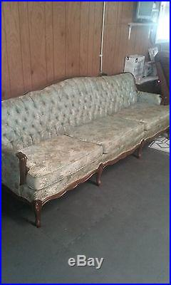 Vintage 1960's Queen Ann Style full size 8 foot couch and matching chair
