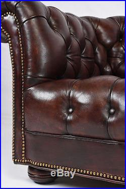 Vintage 1960s Chesterfield Tufted Leather Sofa