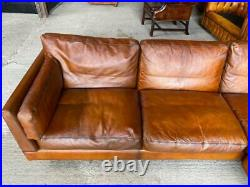 Vintage 1970 Thams Kvalitet Corner Sofa Leather Fully Restored Hand Dyed Tan