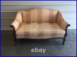 Vintage 53 Hickory Chair Upholstered Chippendale Camel Back Loveseat