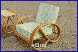 Vintage 5 Pc Beverly Hills Rattan Bamboo Pretzel Sunroom Living Room Sofa Set