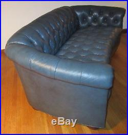 Vintage 6 Long Chesterfield Sofa Couch Teal Blue Tufted Leather Overall BunFeet