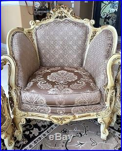 Vintage 6 Piece Wood Victorian Parlor Set Sofa, 4 Chairs And Table Italy Made