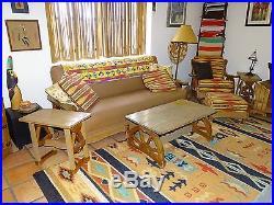 Vintage A Brandt Western Oak Wagon Wheel Living Room Set