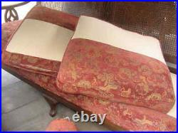 Vintage Antique Cane Back Sofa Couch Cushions Pillows 72x 27x 36 Upholstered