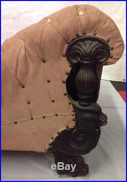 Vintage Antique Fainting Couch Sofa Chaise Rose Upholstery w Carved Wooden Legs