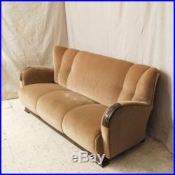 Vintage Antique Period Art Deco Sofa Well Upholstered In Camel Mohair Velvet