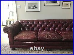 Vintage Antique Red Leather Chesterfield Sofa for Sale