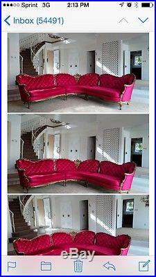 Vintage Antique Red Velvet Settee Sofa Couch Love Seat Chase Lounge