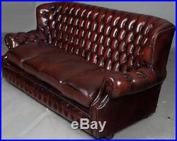 Vintage Antique Style Four Seat High Back Red Leather Chesterfield
