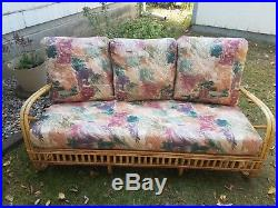 Vintage Bamboo Living Room Set 3 piece set (sofa, chair, and ...