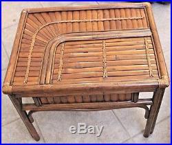 Vintage Bamboo&Rattan 4 Matching Chairs, Table Base, Side Table & Big Kahuna Chair