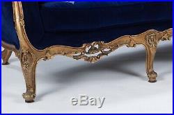 Vintage Blue Velvet sofa 7' reproduction Victorian