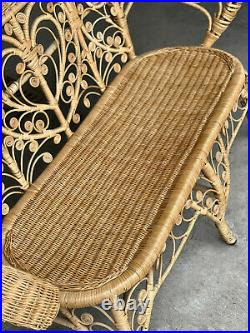 Vintage Boho Chic Rattan Victorian Wicker Flared Back Woven Settee