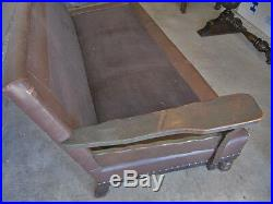 Vintage Branded Monterey Furniture Rancho Couch Sofa 1930's Leather Upholstery