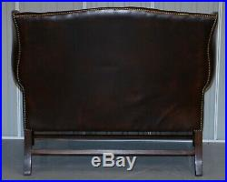 Vintage Brown Leather Chesterfield Fully Tufted Wingback Two Seat Sofa Armchair