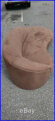 Vintage Brown Vladimir Kagan Style Cloud Sofa Serpentine Mid Century Modern