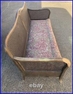 Vintage Cane Back Settee With French Toile De Jouy Upholstered Cushion Project
