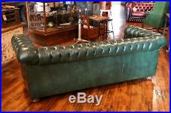 Vintage Chesterfield Sofa Green tufted button Furniture by Hickory Leather Co