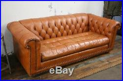Vintage Chesterfield Sofa tufted button Caramel Leather Living Room Furniture