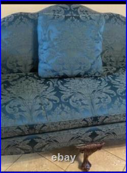 Vintage Chippendale Style Queen Anne Camelback Mahogany Sofa Couch Settee