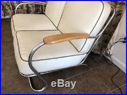 Vintage Chrome Deco Settee Love Seat Rhode Machine Age Kem Weber Era