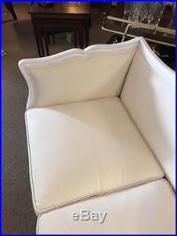 Vintage Couch Canvas French Provincial Sofa Reupholstered Oatmeal