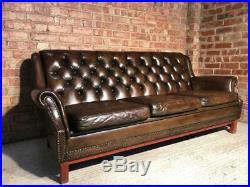 Vintage Danish 1970 Stjernmöbler Chesterfield Leather Sofa