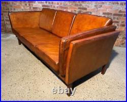 Vintage Danish Leather Tan Coloured Three Seater Borge Mogensen Style