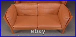 Vintage Danish MID Century Andreas Hansen 2 Person Sofa In Cognac Leather
