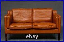 Vintage Danish MID Century Cognac 2 Person Leather Sofa 1969