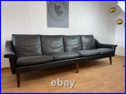 Vintage Danish MID Century Georg Thams 4 Person Sofa In Soft Black Leather 1960