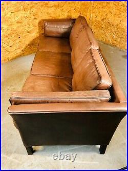 Vintage Danish MID Century Morgans Hansen 3 Person Cognac Leather Sofa