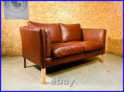 Vintage Danish MID Century Stouby 2 Person Sofa In Cognac Leather